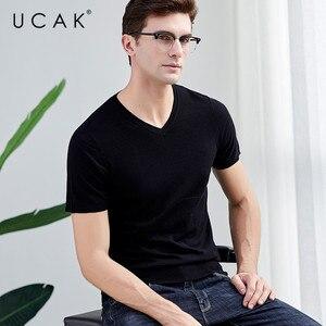 UCAK брендовый свитер мужской повседневный короткий рукав v-образный вырез Pull Homme чистый мериносовый шерстяной пуловер для мужчин осень зима ...