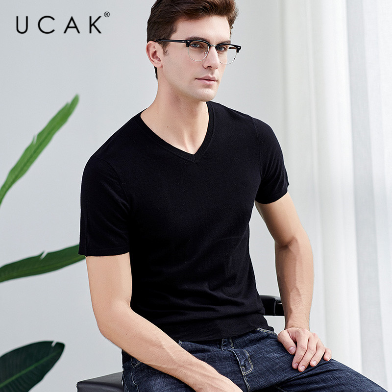 UCAK Brand Sweater Men Casual Short Sleeve V-Neck Pull Homme Pure Merino Wool Pullover Men Autumn Winter Cashmere Sweaters U3001