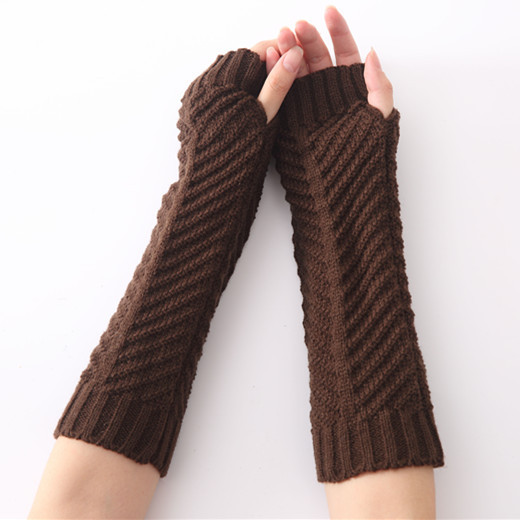 Winter New Fashion Men's And Women's Knitted Wool Fish Bone Warming Gloves Halfly Open Finger Sleeve Arm Warmers