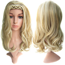 Delice 22inch Synthetic Long Curly Wig With Double Braids Headband Cosplay Wigs Headwear For Women women s ladylike long side bang curly cosplay wig
