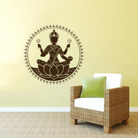 Tooth Relic Of The Buddha Silhouette Sitting In Circle Art Wall Murals Home Special Decor Vinyl