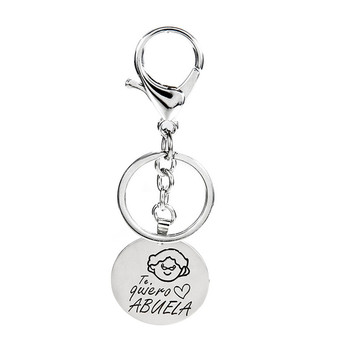 PENGBIN Alloy Keychain Round Tag Engraving Te Quiero Love Abuelo Abuela Pendant Keyring for Grandfather Grandmother Gift image