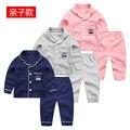 Niños homewear 2017 primavera nuevo bebé traje de chaqueta pura pijama de dos piezas.