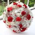 8-дюймовый, красный и белый атласной лентой розы брошь букет красный и серебряный брошь букет невесты Кристалл свадьба брошь букет декор