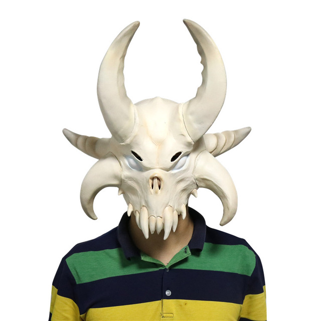 Game Battle Royale Viking's Escape Bull Devil Mask Cosplay Costume Masque Latex Helmet Halloween Cosplay Fortniter Props