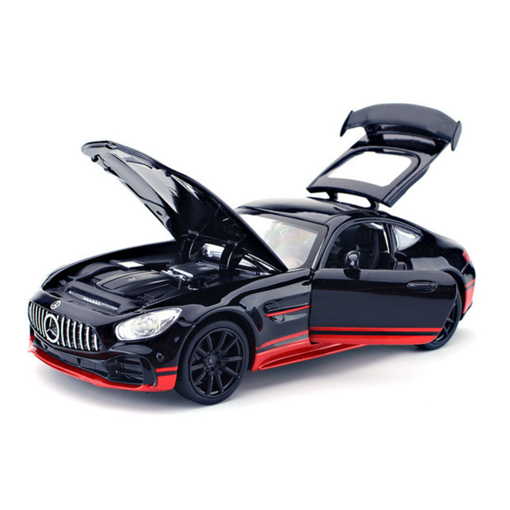 1/32 Diecast Alloy Sport Car Model AMG GTR Pull Back With Sound Light Diecasts Toy Vehicles Models For Children Birthday Gifts