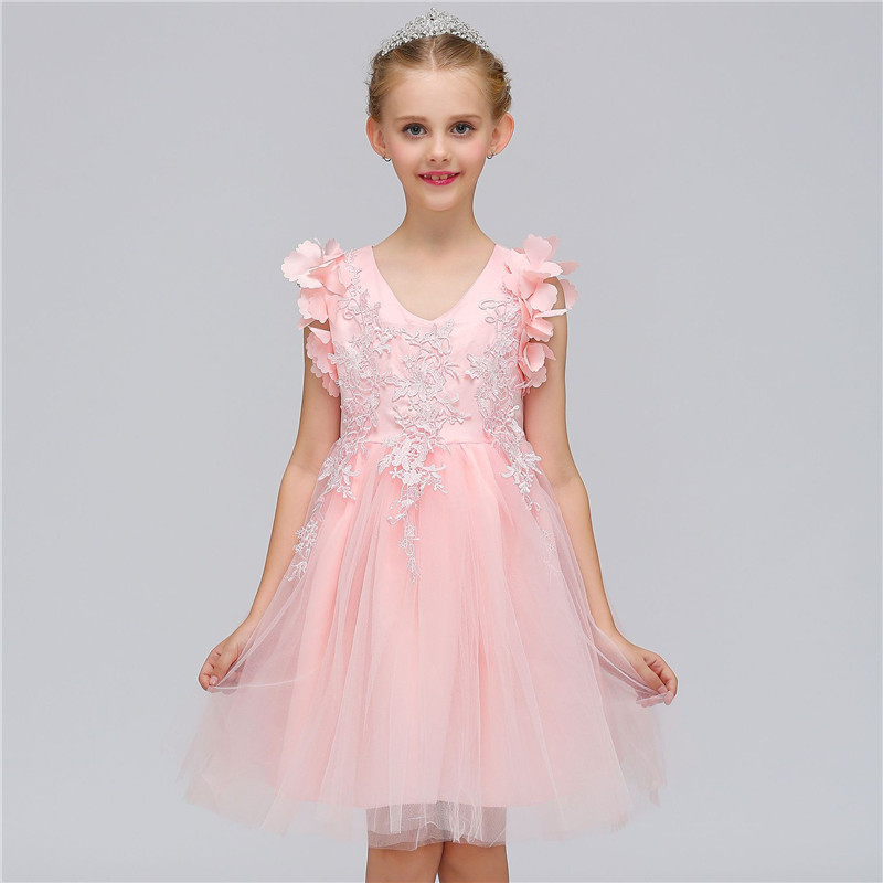 New Party Girls Dress Flower Pattern Princess Dresses Birthday Party Sleeveless Kids Clothes for Flower Girls Wedding Vestido