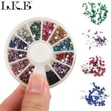LKE Nail Art Decoration 3D 12 Colors Mix Rhinestones For Women