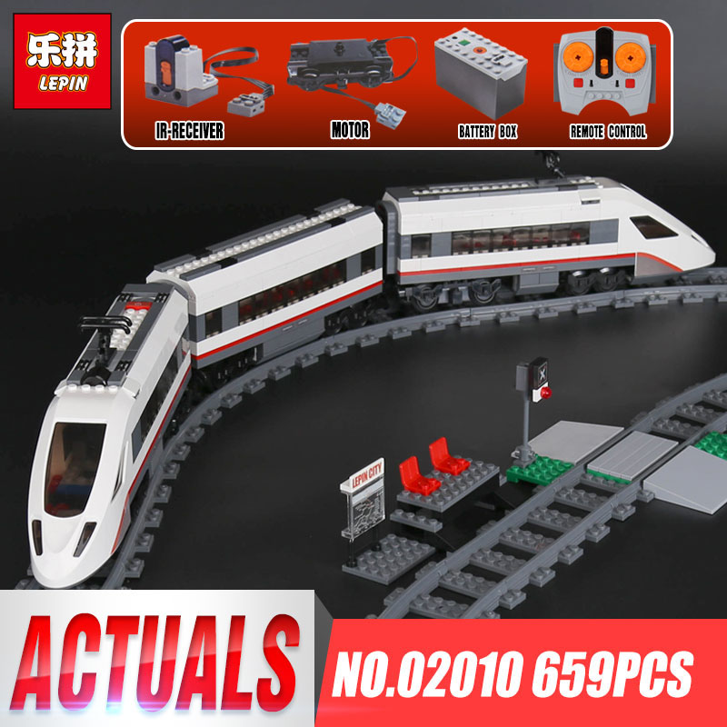 Lepin 02010 Genuine 659Pcs City Series The High-speed Passenger Train Set 60051 Building Blocks Bricks As Kid`s Christmas Gifts