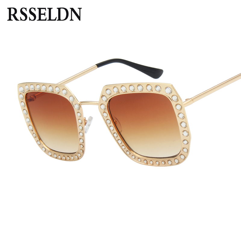 RSSELDN Square Rhinestone Sunglasses Women Fashion Clear Lens Female Luxury Sun Glasses For Women 2018 High Quality UV400 Shades