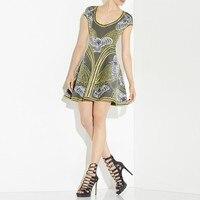 Sommer neue 2016 herbst runway frauen baum des lebens jacquard a-line bandage dress hl großhandel