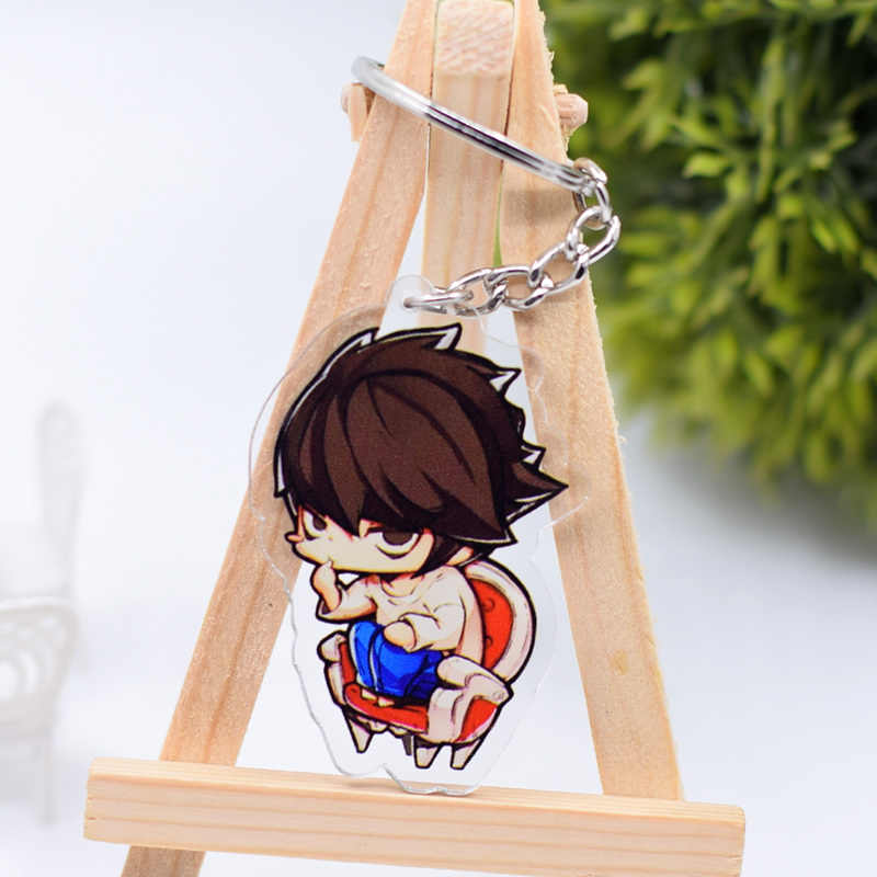 Death Note Ryuk L Corrente Chave Keychain Bonito Dupla Face Pingente De Anime Acessórios Anel Chave Dos Desenhos Animados DBS1P