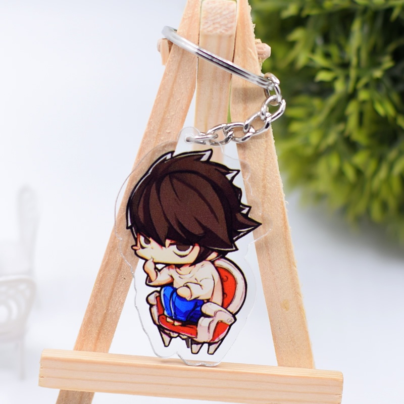 Death Note Keychain Cute Double Sided Ryuk L Key Chain Pendant Anime Accessories Cartoon Key Ring DBS1P