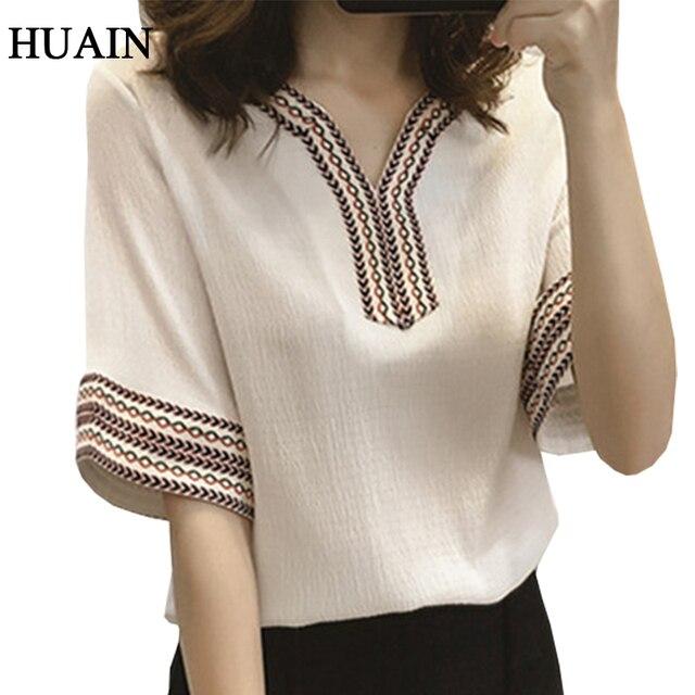 2508d5b6f Blusa bordada camisa mujer estilo étnico camisa blanca manga corta verano  2018 cuello pico moda Tops