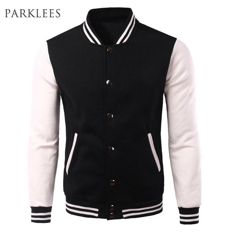 Classic Baseball Jacket Men <font><b>Bombers</b></font> Veste Homme 2016 Autumn Fashion Soft Cotton College Jacket <font><b>Black</b></font> Fleece Varsity Jacket Xxxl