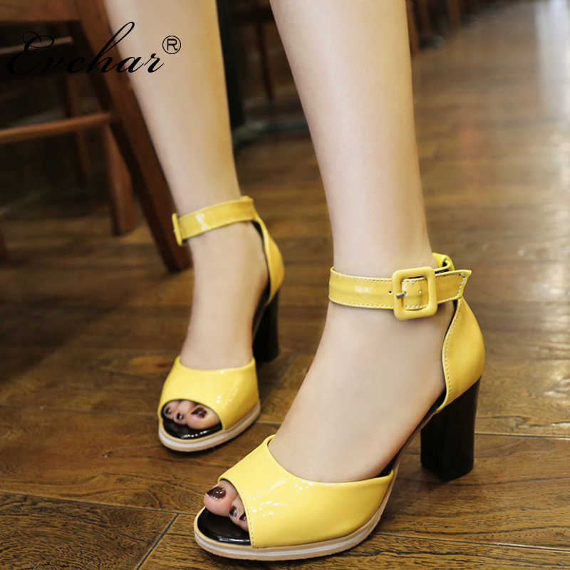summer new shoes, fish head high heels buckle sandals shallow mouth thick with Platform Mixed color sandals size 32-43 2016 summer new fish head roman sandals women 14cm heels thick with thin waterproof shoes