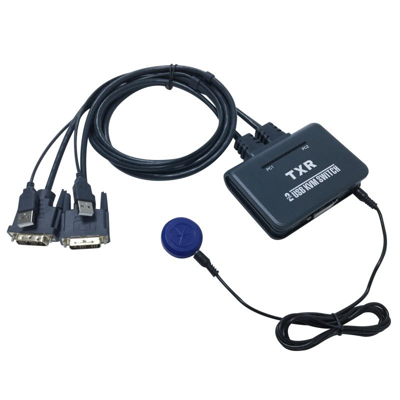 2 Port Usb 2.0 2 In 1 Out Dvi Kvm Switcher Switch Box With Audio Video Cable For Monitor Keyboard Mouse Computer