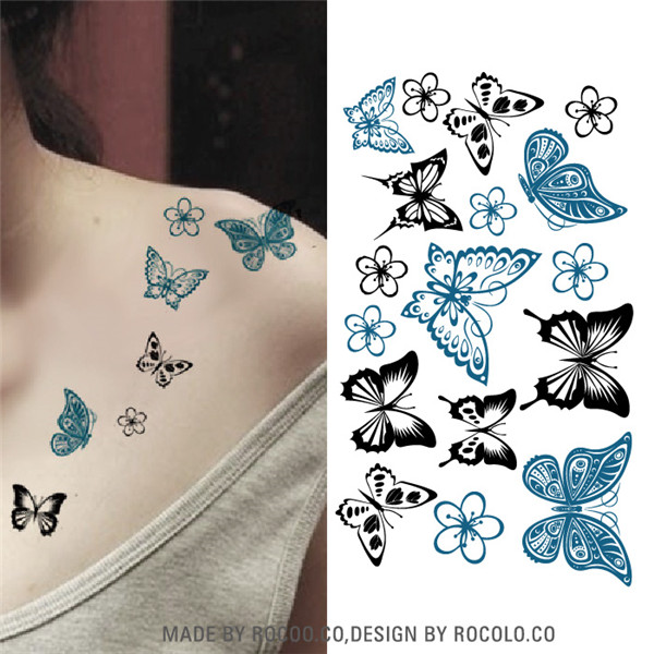 10 PCS Temporary Tattoo Stickers Temporary Body Art Supermodel Stencil Designs Waterproof Letters Gun Tattoo sleeve Pattern Cat 18