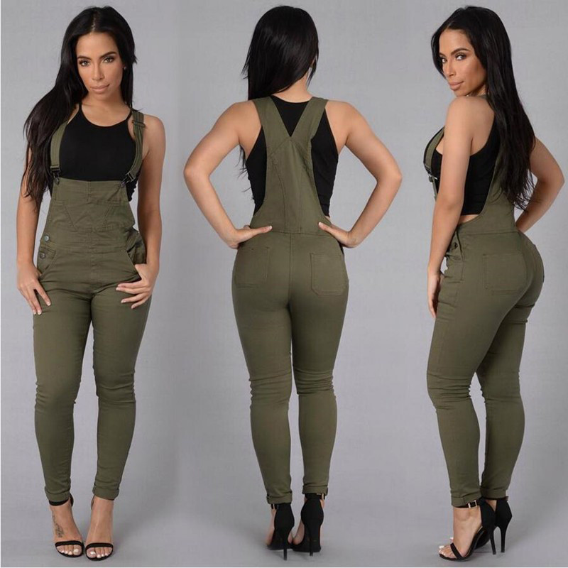 555cb292f Fashion Denim Jumpsuit Army Green White One Piece Rompers Womens Jumpsuit  Casual Combinaison Femme Sexy Button Jumpsuits