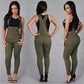 Moda Denim Macacão Verde Do Exército Branco Um Pedaço Botão Macacões Combinaison Rompers Womens Jumpsuit Ocasional Femme Sexy