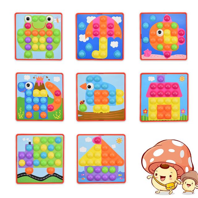 Online Shop Huanger Baby 3d Mushroom Nail Art Button Puzzles Toys