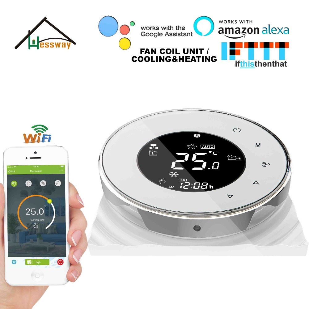 HESSWAY TUYA 24VAC 95~240VAC 2P Cooling Heating Air Conditioning Fan Thermostat WIFI For Works With Alexa Google Home