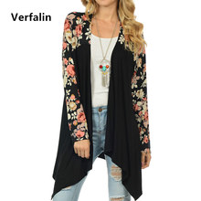 Verfalin Top Jackets Coats 2017 Spring Women's Floral Causal Jackets Girls Cardigan Cape Coats Female Long Sleeve Jackets Coats
