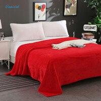 Ouneed Flannel Blanket 180 200cm Fleece Blankets On Sofa Bed Plane Travel Plaids Bedding Set Washable