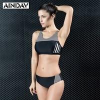 2017 Nuevo Anuncio Tendencia Movimiento de cintura alta Mujeres Bikini Traje Acolchado Traje de Baño de la Playa Deportes Push Up de Alta Calidad