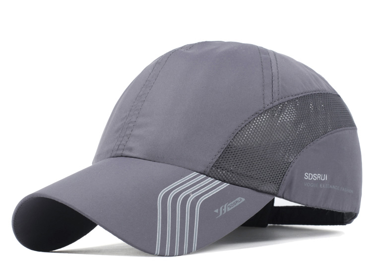 Striped Brim Sporty Baseball Cap - Dark Grey Cap Front Angle View