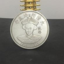 O imperador da dinastia qing de tongzhi moeda comemorativa banhado a prata moeda do dólar para decoração de casa e presentes
