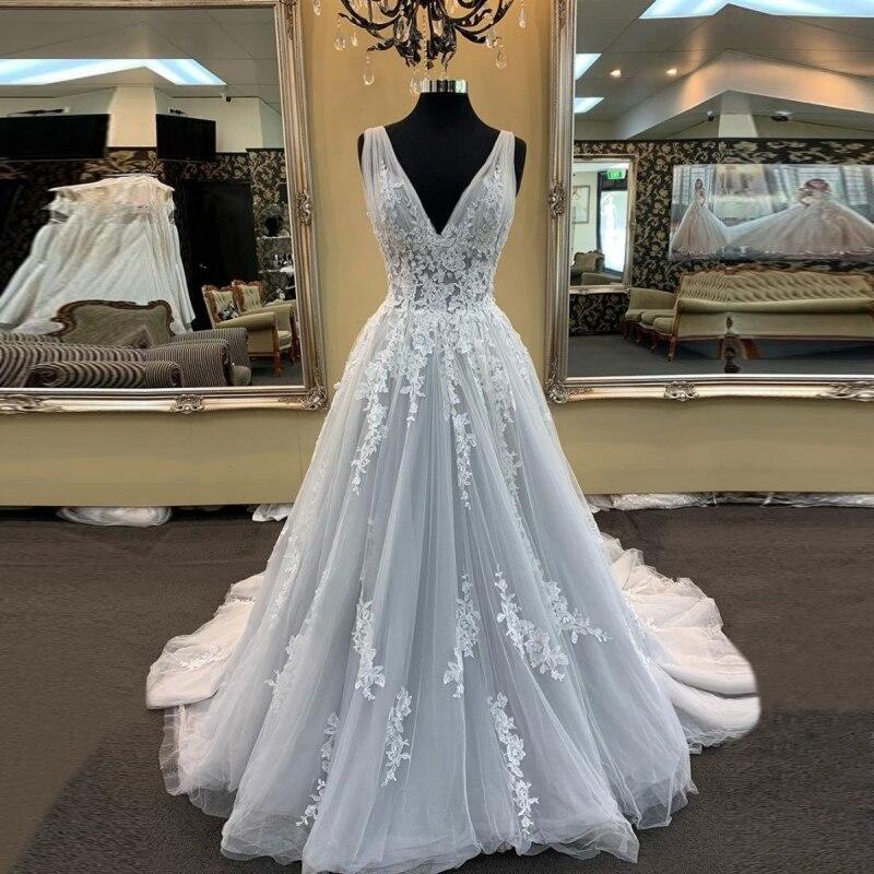 Wd0821 Robe De Mariage Sexy 2019 Nieuwe V-hals Lace Tulle Een Line Trouwjurken Vestidos De Noiva Vintage Jurken Wedding Bridal Meer Kortingen Verrassingen