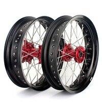 BIKINGBOY 17*3.5 17*4.25 Wheel Rims Hubs for Honda CR125 CR250 02 13 CRF250R CRF450R 04 05 06 12 11 10 09 08 Supermoto Complete