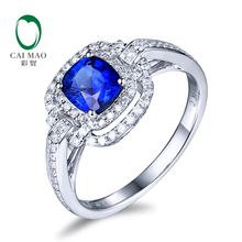 Free shipping 14KT/585 White Gold 1.1ct Sapphire 0.35 ct Round Cut Diamond Engagement Gemstone Ring Jewelry