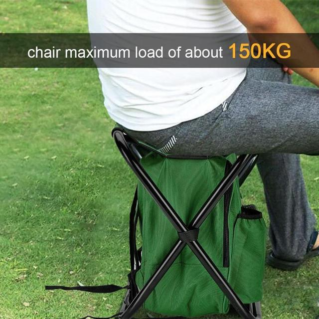 Outdoor Fishing Chair Bag Folding Camping Stool Portable Backpack Cooler Insulated Picnic Bag Hiking Seat Table Bag Bear 150KG 3