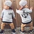 2pcs/Set Autumn Toddler Baby Boys Cool Kids Gray Letter Print Sweatshirt Tops+ Khaki Long Pants Clothes Outfits Gentleman Set 21