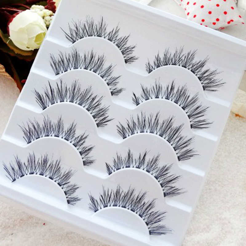 57a4d3676a4 5 Pairs False Eyelashes Thick Long Crisscross Fake Black Brown Eyelash  Extension Handmade Smoked Makeup Cosmetics