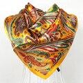 El envío Libre 2015 Mujeres de Satén Cuadrado Grande Bufandas Impreso Moda Primavera Y Otoño Amarillo Poliéster Mantón de La Bufanda de Seda 90*90 cm