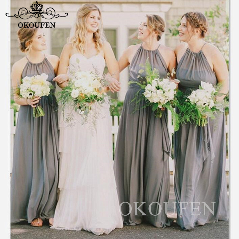 Bohemia Beach Long   Bridesmaid     Dresses   2019 Sheer Halter Flowing Chiffon A Line Maid Of Honor   Dress   For Wedding Party