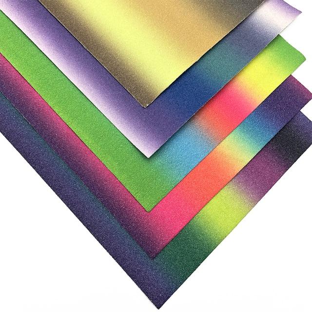 David accessories 20 34cm glitter Gradient color stripe vinyl Faux  Synthetic Leather Fabric DIY Garment knotbow Bags e0b07b16e05a