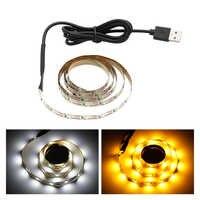Cinta de luz LED SMD2835 de 5M, no impermeable, alimentada por USB, pantalla de TV cálida, fondo, escaparate, iluminación, decoración del hogar