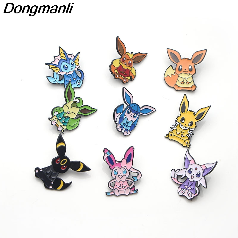 P3411 Dongmanli Cute Eevee Metal Enamel Pins and Brooches for Women Men Lapel Pin Backpack Bags Badge Kids Gifts Jewelry in Brooches from Jewelry Accessories