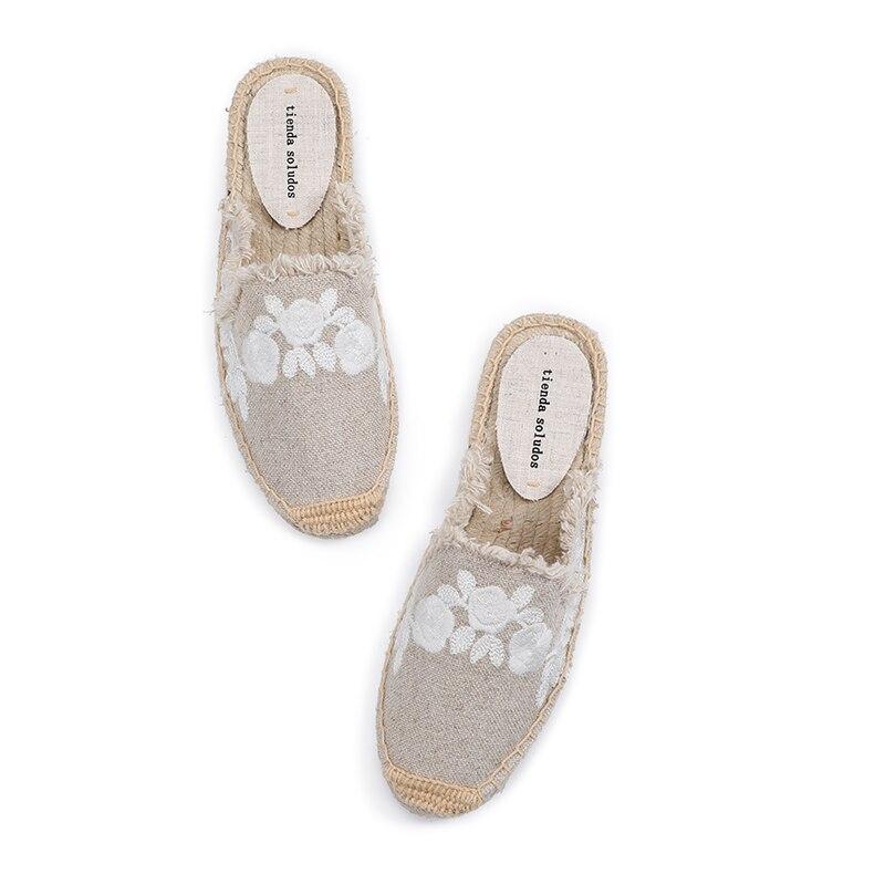 Pantufa Women Shoes Tienda Soludos Slippers Cotton Fabric Sale Promotion Hemp Rubber Summer Slides Zapatos De Mujer Floral 3