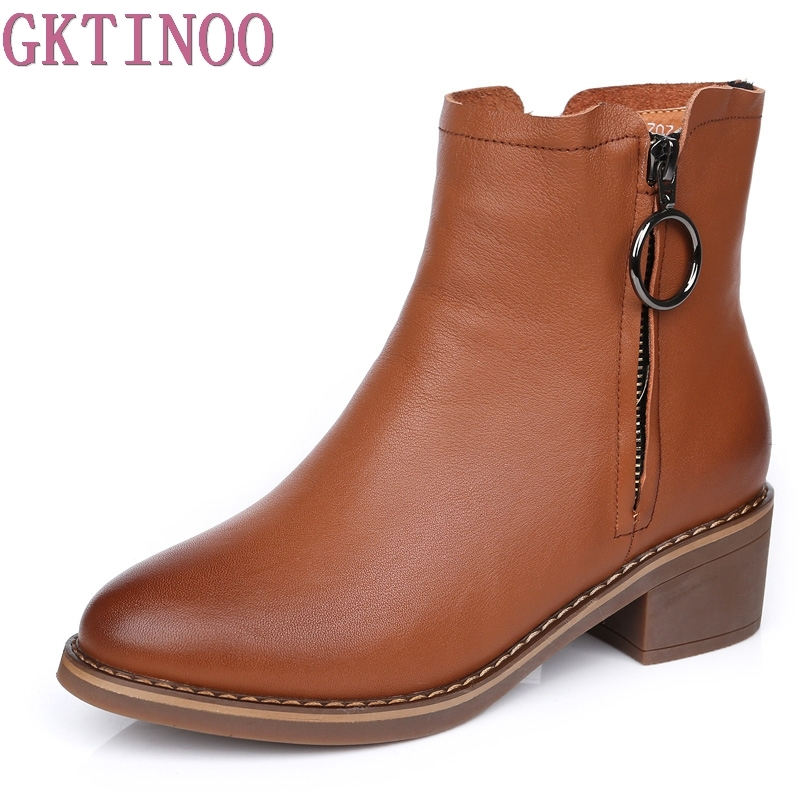 GKTINOO 2018 New Fashion Women Square High Thick Heel Ankle Boots Platform Genuine Leather Booties Winter Shoes 2017 fashion new red horsehair women ankle boots square high heel short booties autumn zip up martin botines mujer women pumps