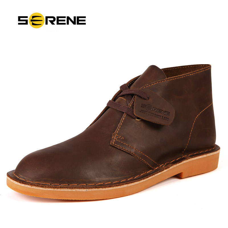 SERENE Brand 2018 New Arrival Autumn & Winter Men Leather Boots Retro Desert Fashion Boots Lace Up Suede Warming Boot Size 38~44 цена