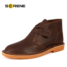 SERENE Brand 2018 New Arrival Autumn & Winter Men Leather Boots Retro Desert Fashion Boots Lace Up Suede Warming Boot Size 38~44