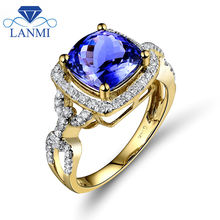 Fantastic Jewelry Vintage Cushion 8X8mm Solid 14Kt Yellow Gold Natural Tanzanite Wedding Ring for Women G090458