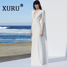XURU new sexy womens cathedral dress long-sleeved V-neck summer Slim white