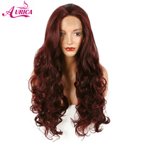 Aurica 99J long body wave synthetic lace front wigs natural burgundy red wine color heat resistant fiber hair for woman