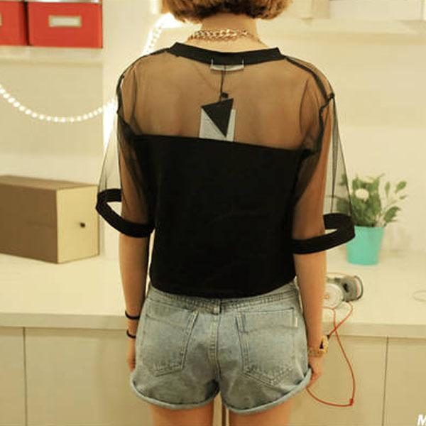 Patchwork Mesh See through Top Female Round Neck Long Sleeve Black T Shirt Korean Style Women Elegant T shirt Crop Tops Female in T Shirts from Women 39 s Clothing